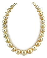 CERTIFIED 12-16.3mm Golden South Sea Pearl Necklace