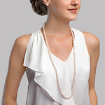 6.5-7.0mm Opera Length Japanese Akoya Pearl Necklace - Model Image