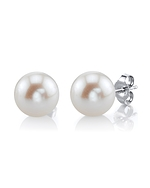 9mm White Freshwater Pearl Stud Earrings