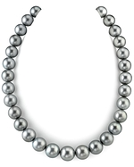 CERTIFIED 12-14mm Silver Tahitian South Sea Pearl Necklace - AAAA Quality