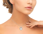 South Sea Pearl & Diamond 9mm Heart Shaped Pendant - Secondary Image