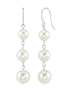 White Akoya Pearl Triple Drop Earrings