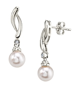 White Freshwater Pearl & Diamond Madison Earrings
