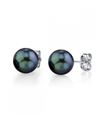 8.5-9.0mm Black Akoya Stud Earrings