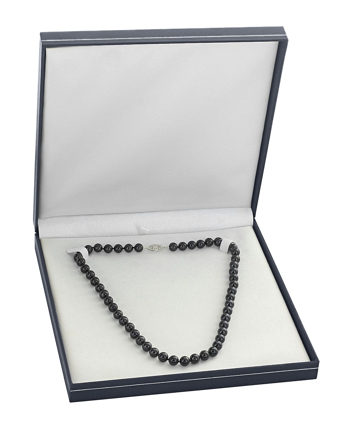 5.5-6.0mm Japanese Akoya Black Pearl Necklace- AA+ Quality - Third Image