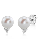 Freshwater Pearl & Diamond Grace Earrings