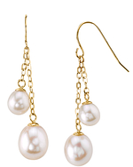 14K Gold Freshwater Pearl Double Drop Tincup Juliana Earrings - Model Image