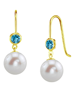 14K Gold Freshwater Pearl & Topaz Delilah Earrings - Model Image