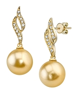 Golden South Sea Pearl & Diamond Suzanna Earrings