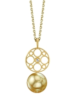 Golden South Sea Pearl & Diamond Faye Pendant