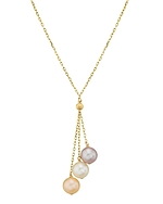 14K Gold Multicolor Freshwater Pearl Tincup Cluster Pendant - Model Image