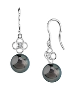 Tahitian South Sea Pearl & Diamond Lacy Earrings