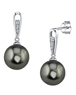 Tahitian South Sea Pearl & Diamond Bailey Earrings