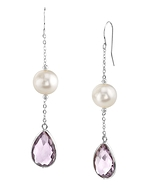 14K Gold Freshwater Pearl & Amethyst Sophia Tincup Earrings
