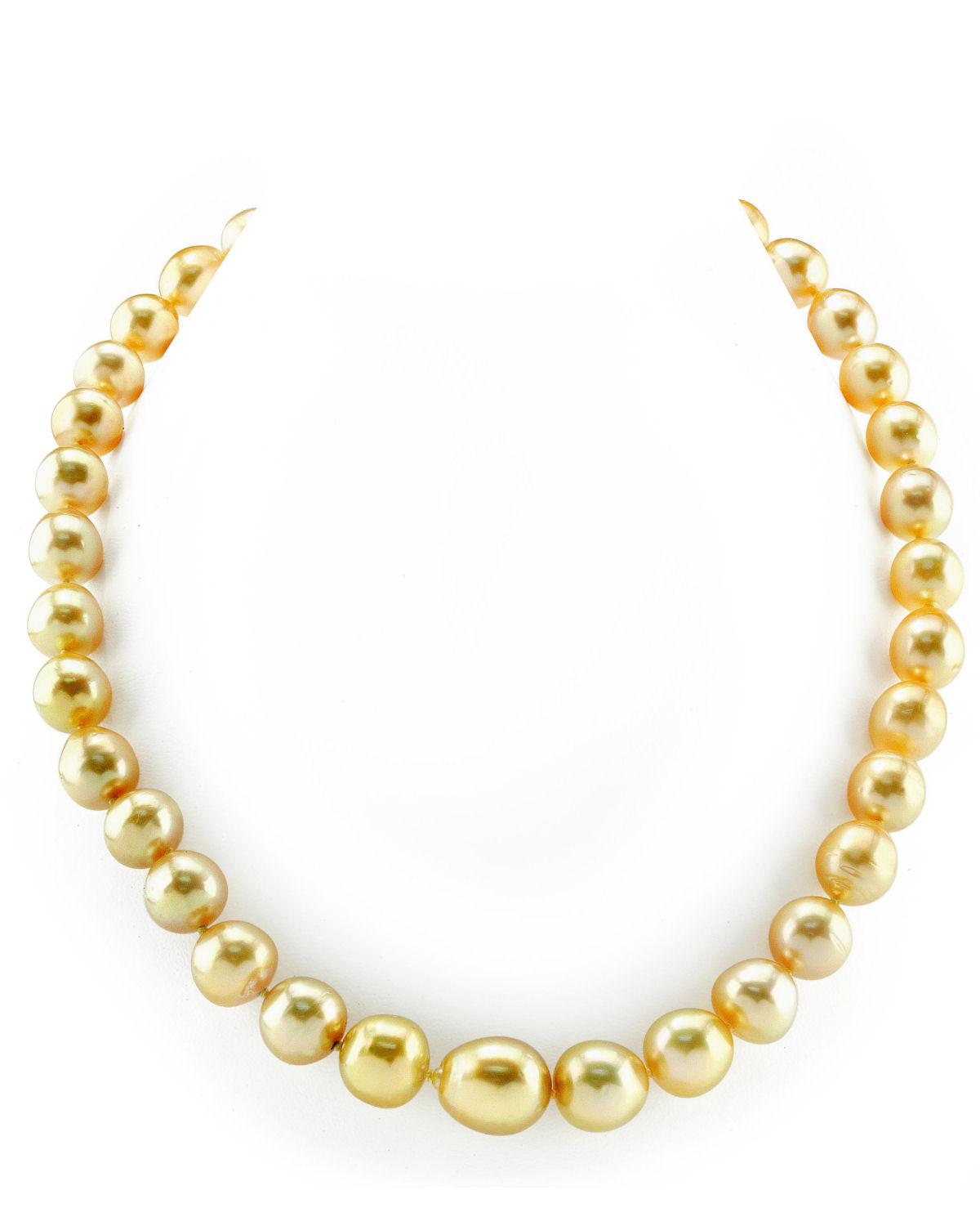 10-13mm Oval-Shaped Golden South Sea Pearl Necklace