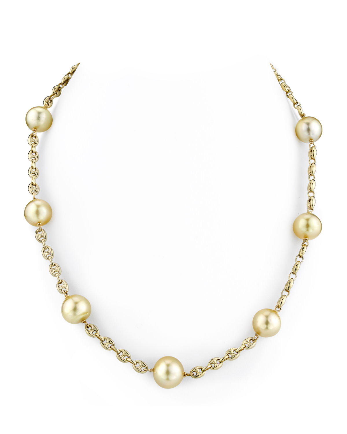 14K Gold Tincup Necklace with 10-11mm Light Golden Pearls