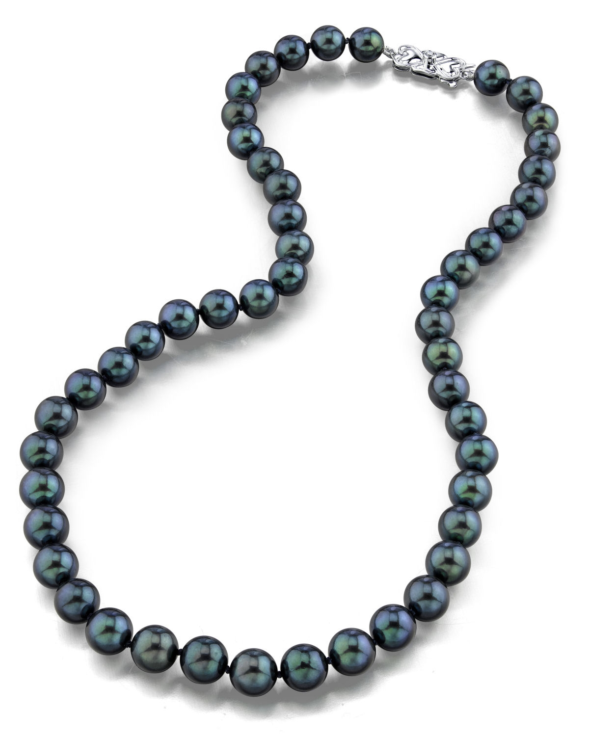 8.0-8.5mm Japanese Akoya Black Pearl Necklace- AAA Quality