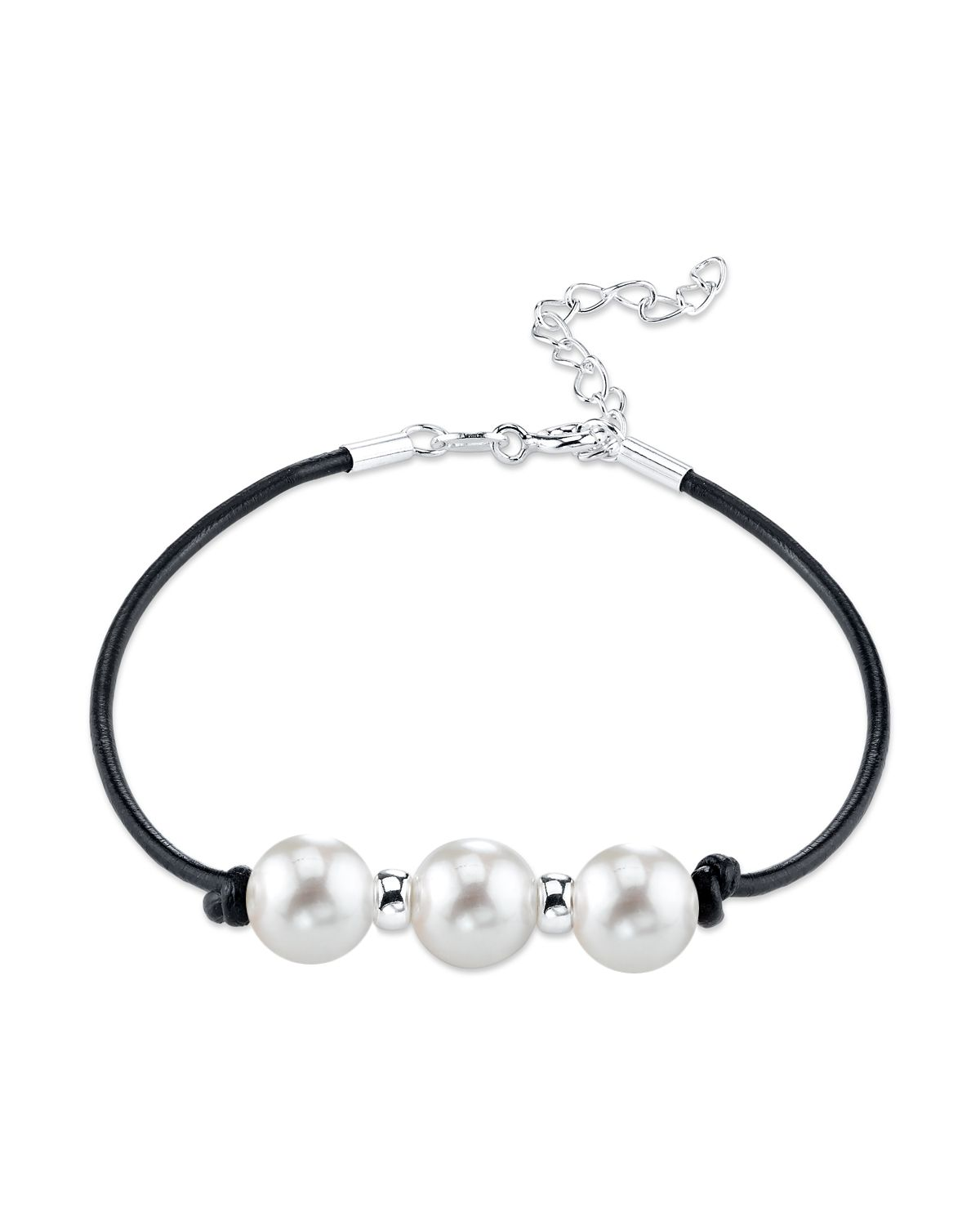 8mm White Freshwater Pearl & Silver Rondelle Leather Bracelet