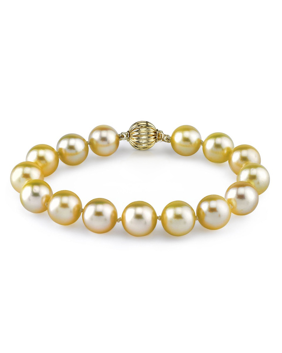 9-10mm Golden South Sea Pearl Bracelet