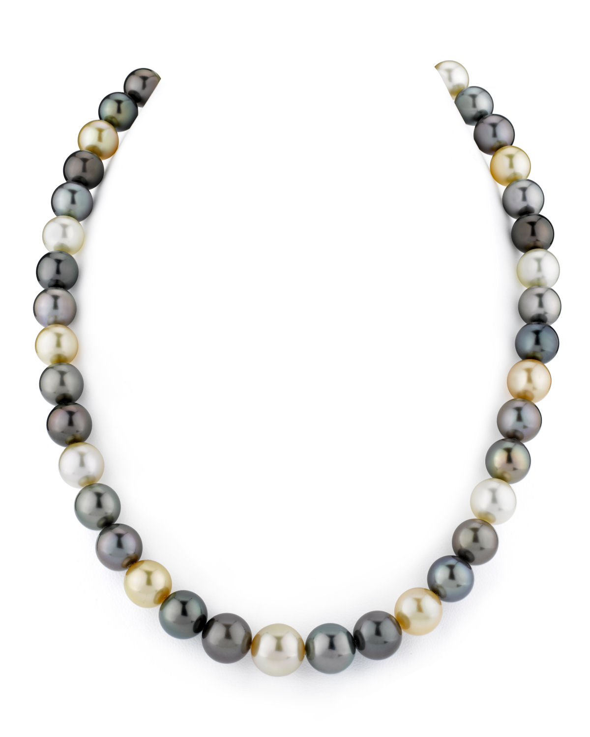 9-11mm Tahitian & Golden South Sea Multicolor Pearl Necklace - AAAA Quality