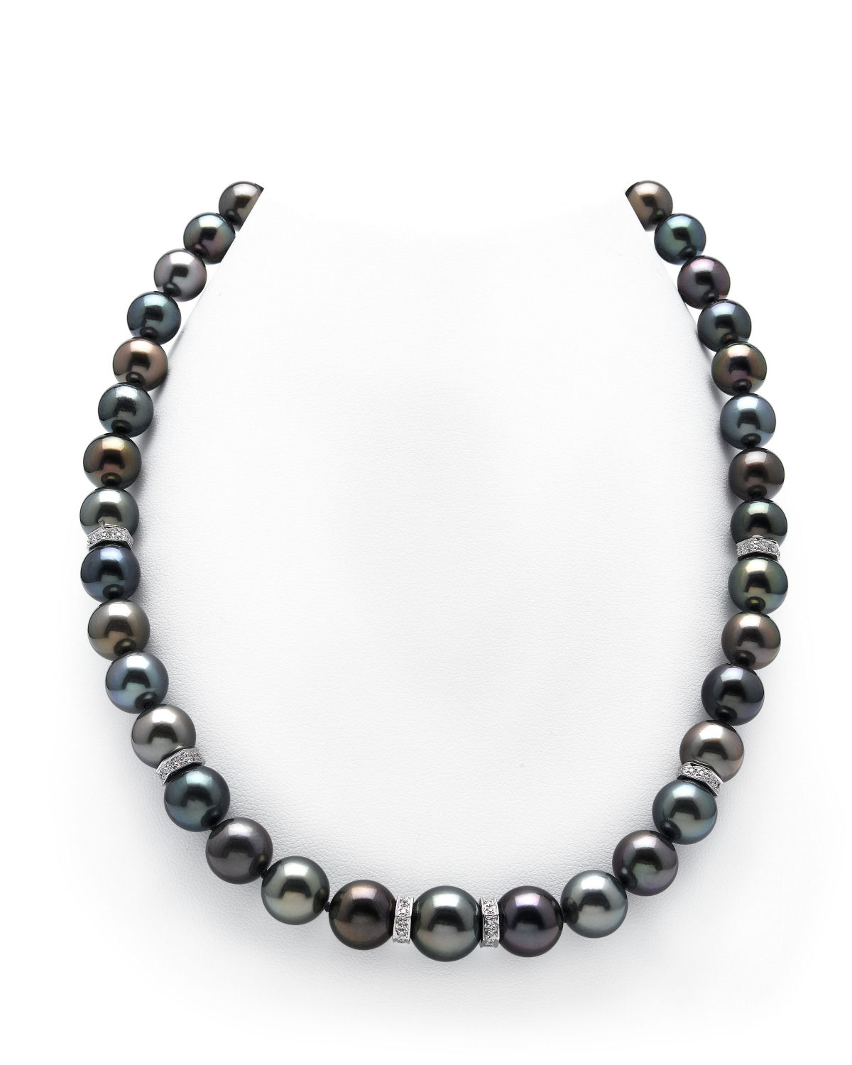 9-11mm Tahitian Multicolor Pearl and Diamond Rondelle Necklace