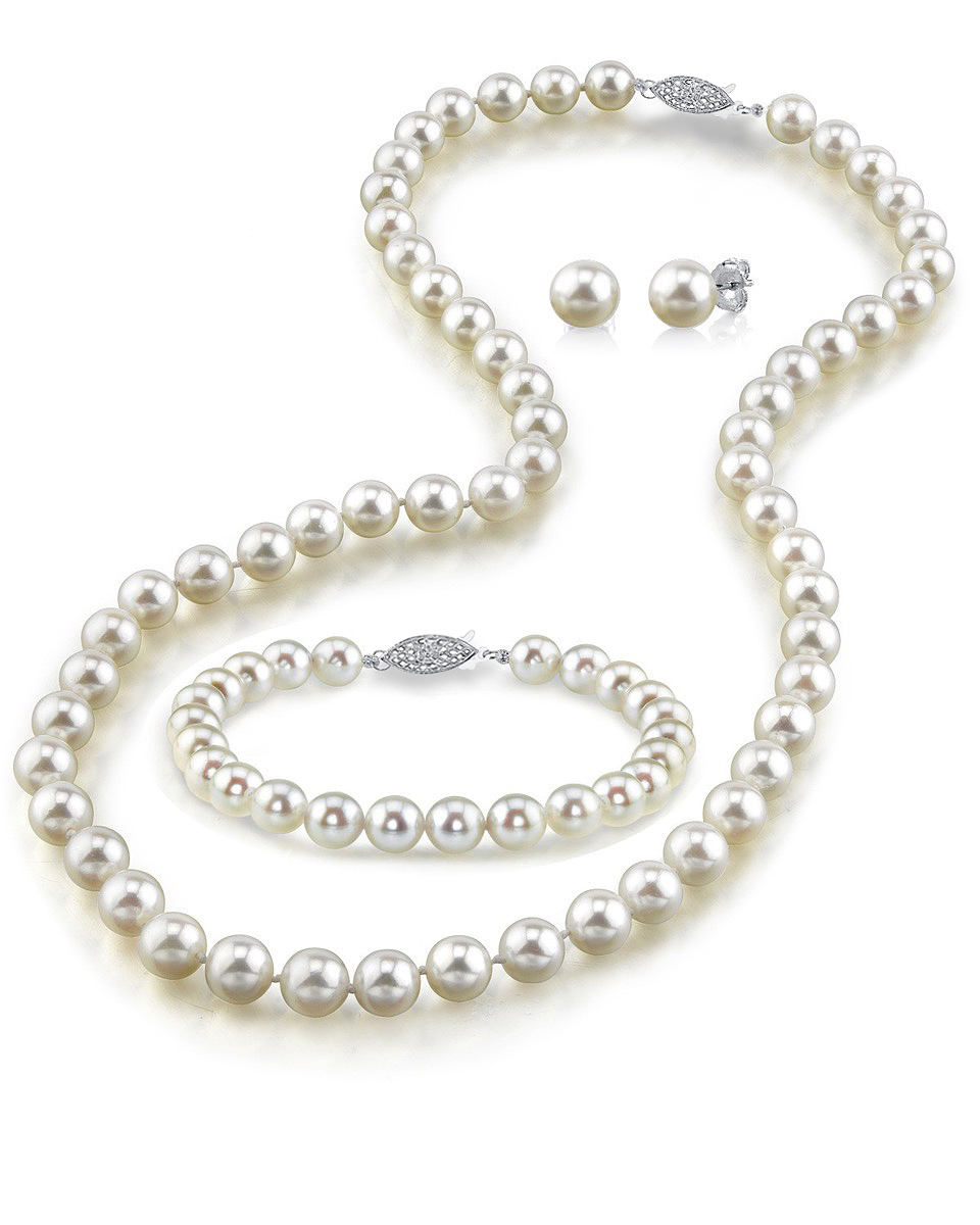 Japanese Akoya White Pearl Sets in AAA Quality