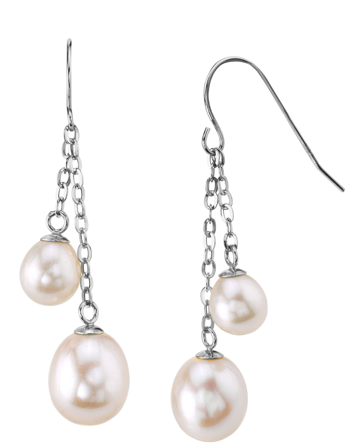 14K Gold Freshwater Pearl Double Drop Tincup Juliana Earrings