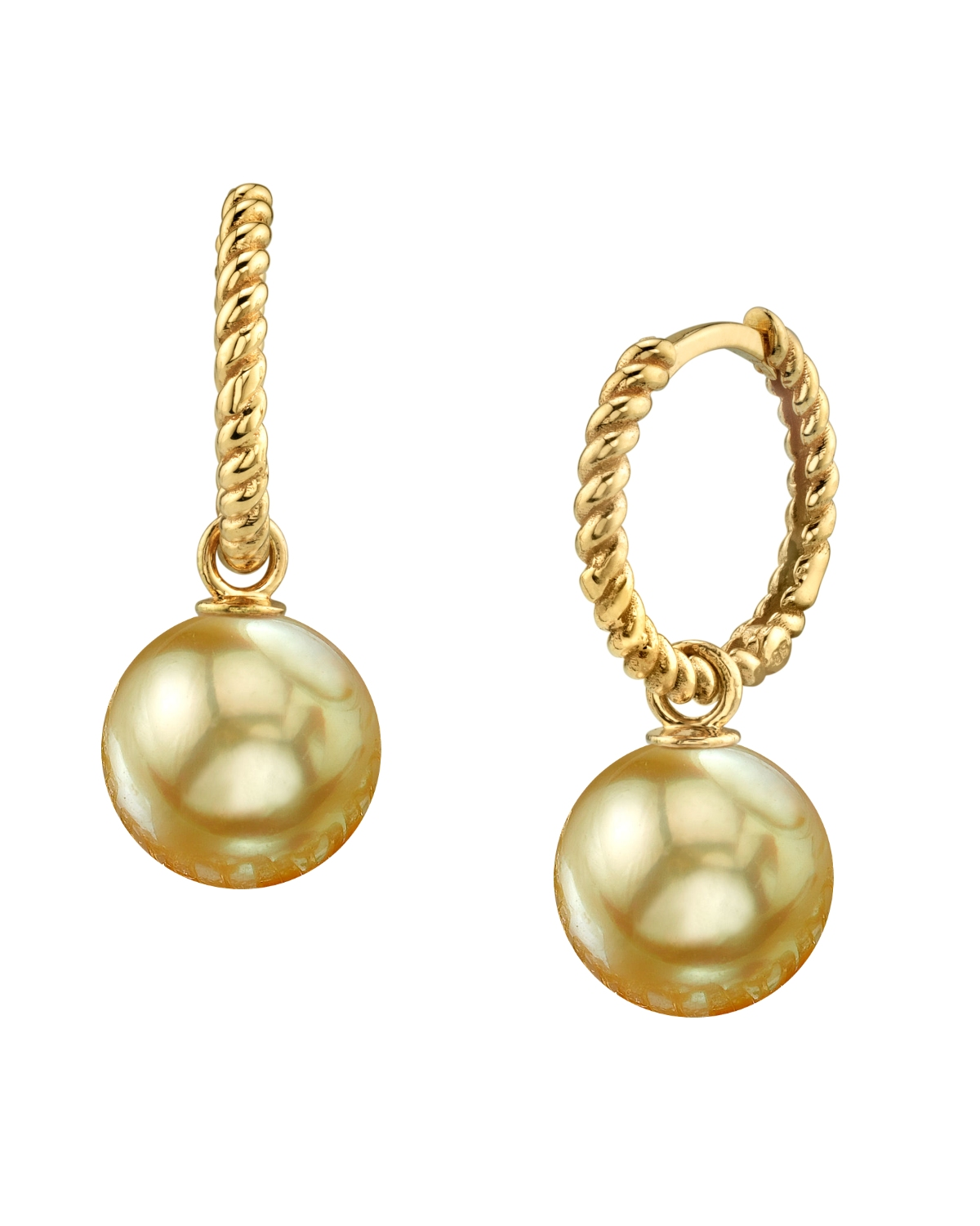 Golden South Sea Pearl Via Earrings