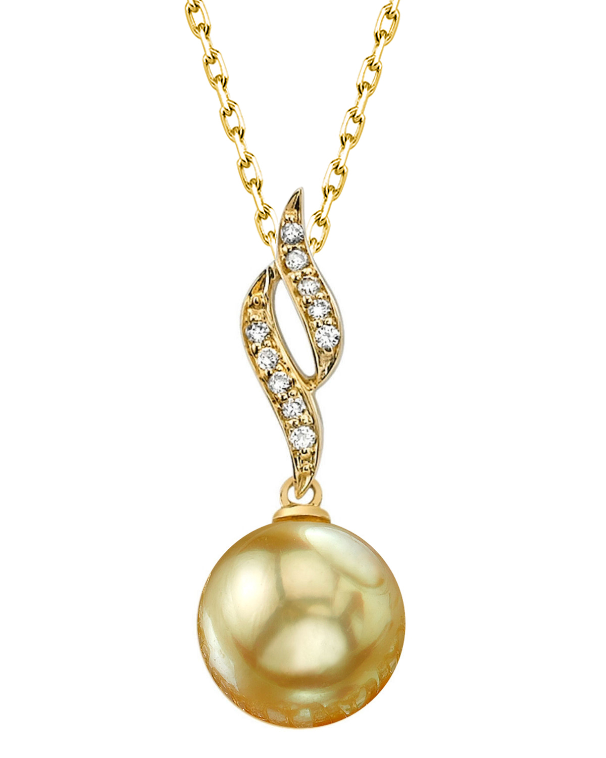 Golden South Sea Pearl & Diamond Suzanna Pendant