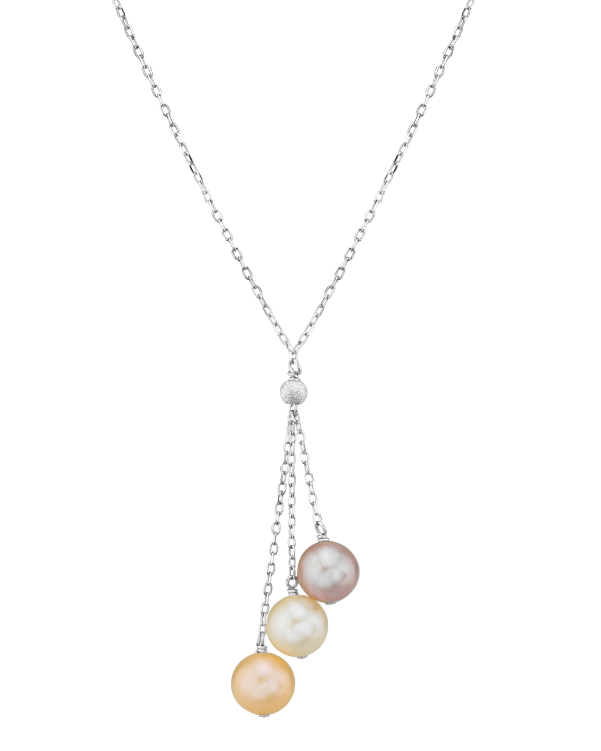 14K Gold Multicolor Freshwater Pearl Tincup Cluster Pendant