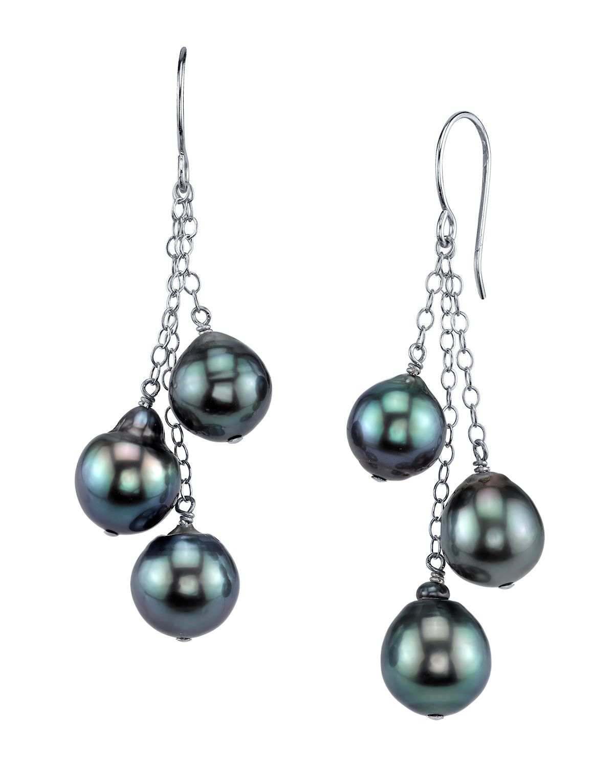 Tahitian South Sea Drop Pearl Cluster Earrings
